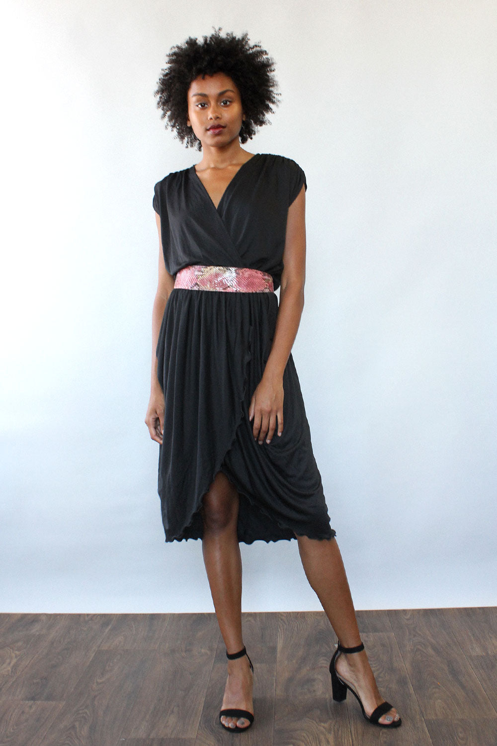 Fluid Drape Black Dress M/L