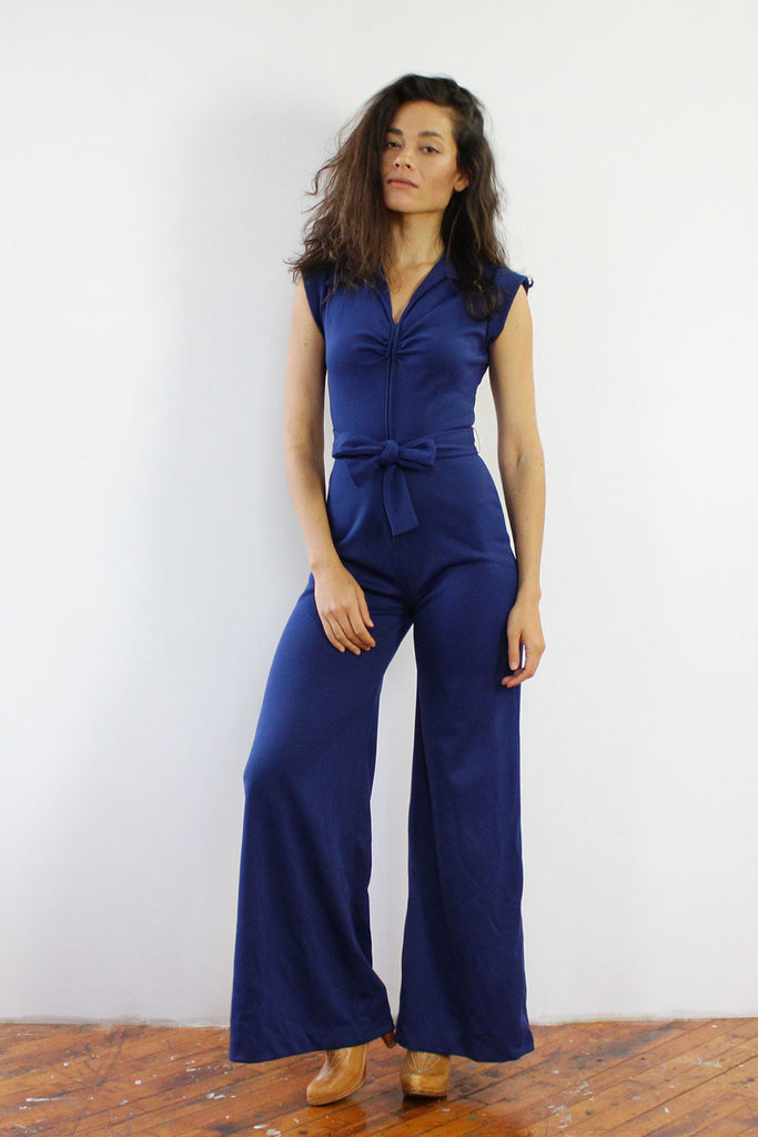 Navy Belted Bell Jumpsuit S