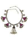 fuschia triangle necklace