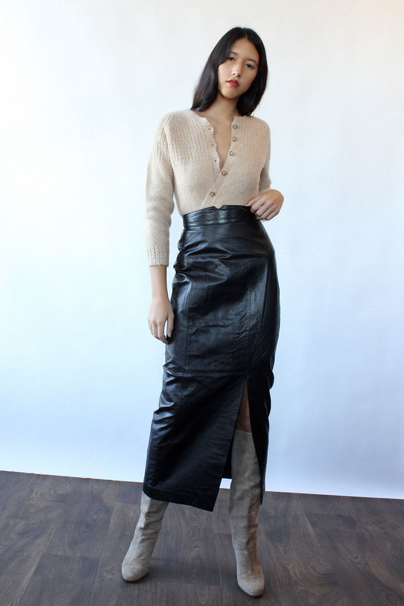 Diane Freis Long Leather Pencil Skirt XS
