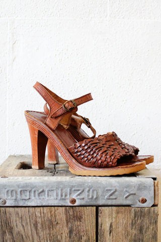 70s Wood Woven Sandals 7 1/2