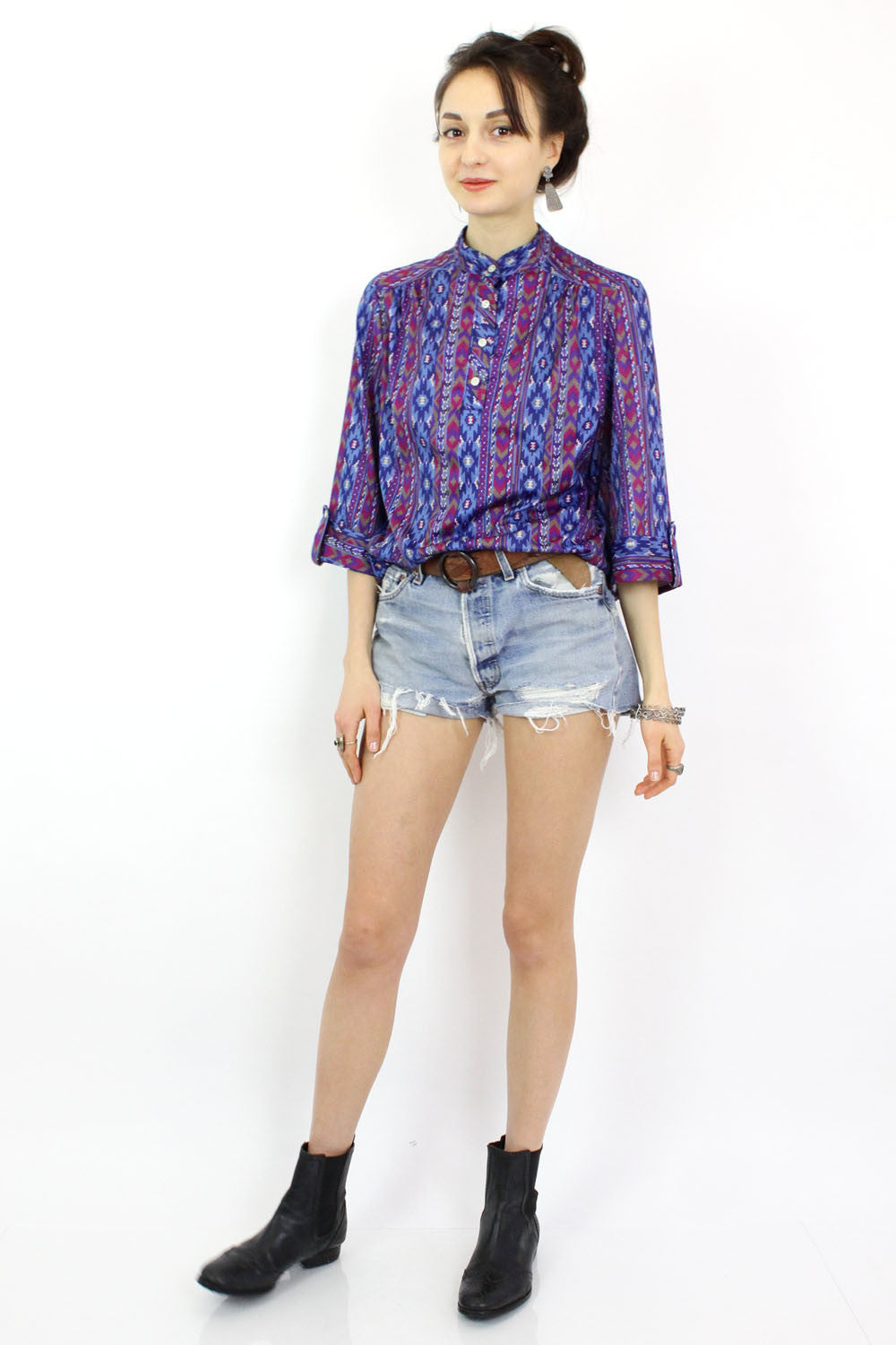 tribal print button down shirt