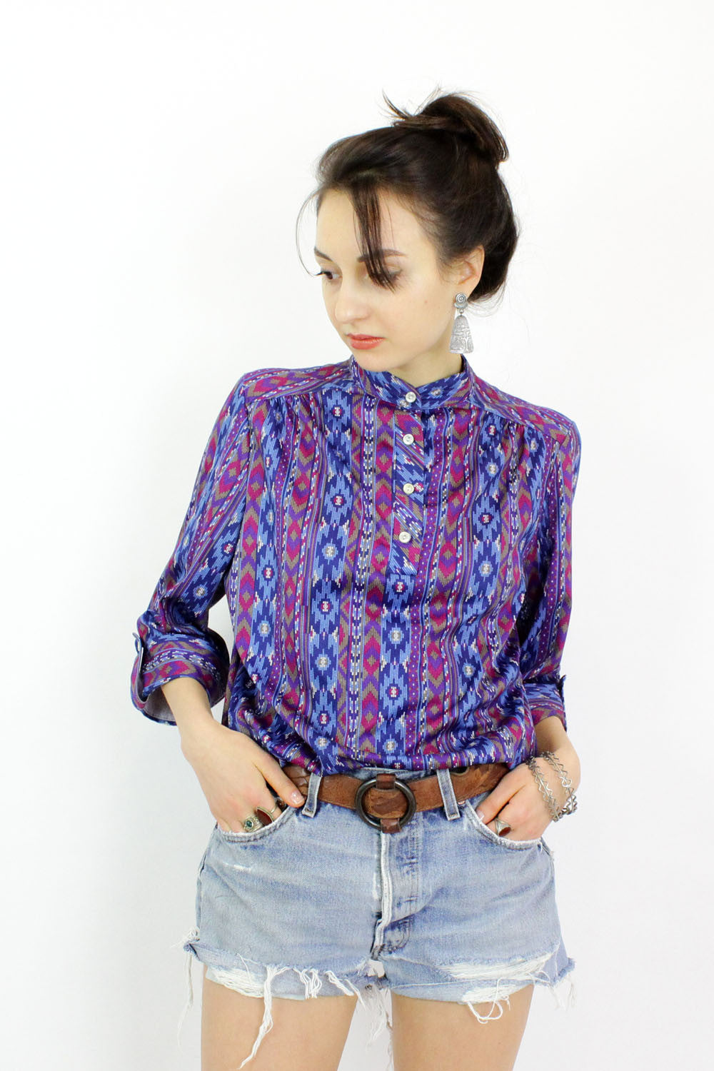 70's print button down blouse