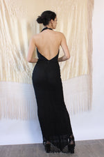 Plunging Pop-pom Trim Gown S-S/M