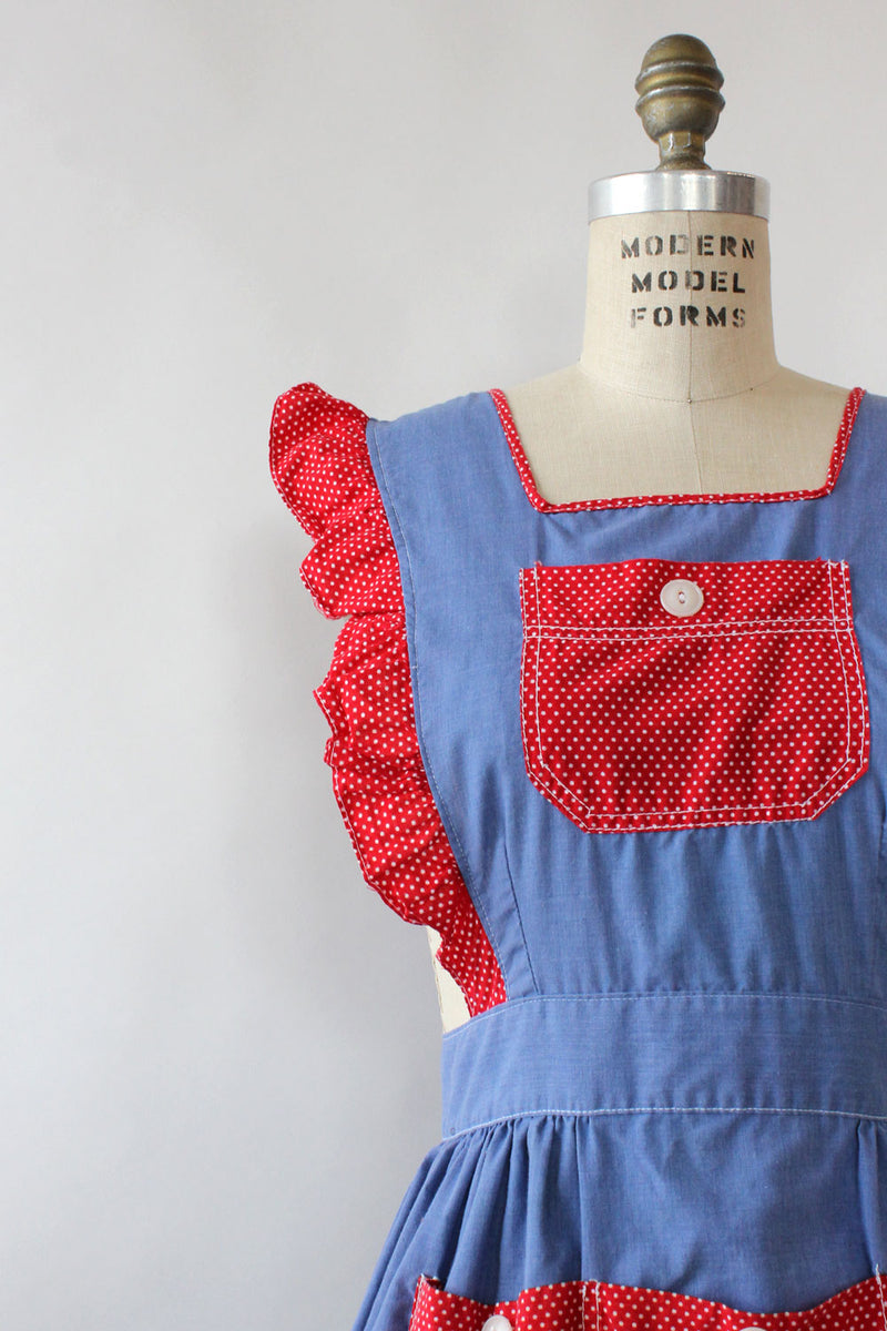 Chambray Polka Dot Pinafore S/M