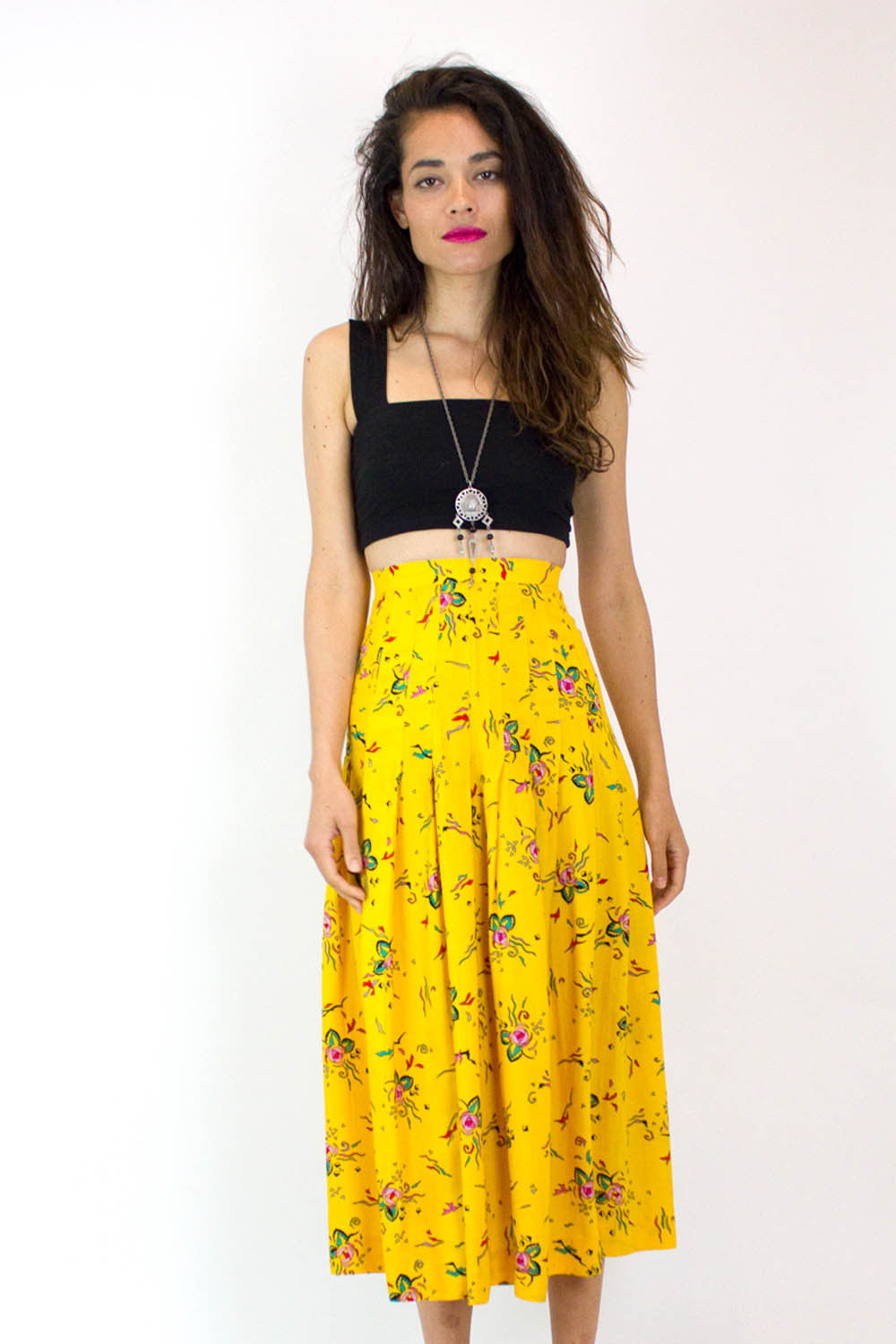 Geometric Rose Midi Skirt XS