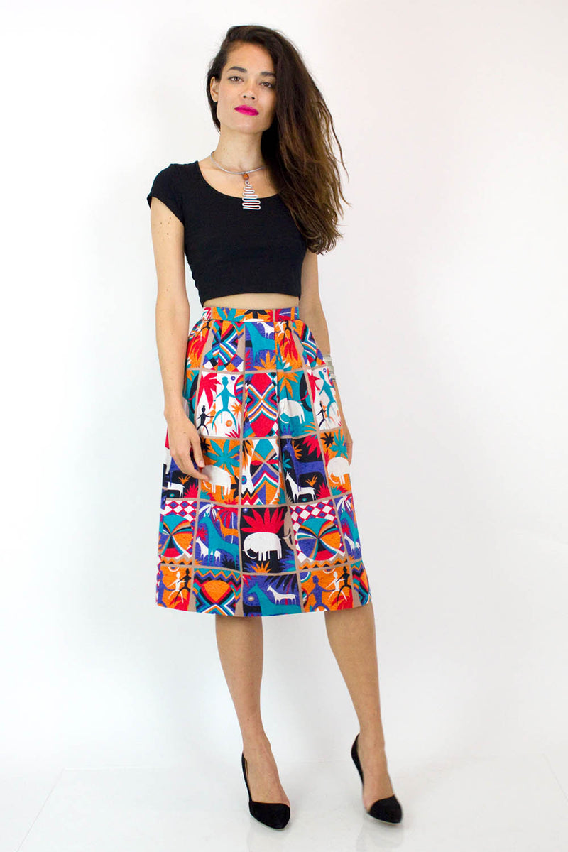Tribal Block Print Cotton Skirt XS/S