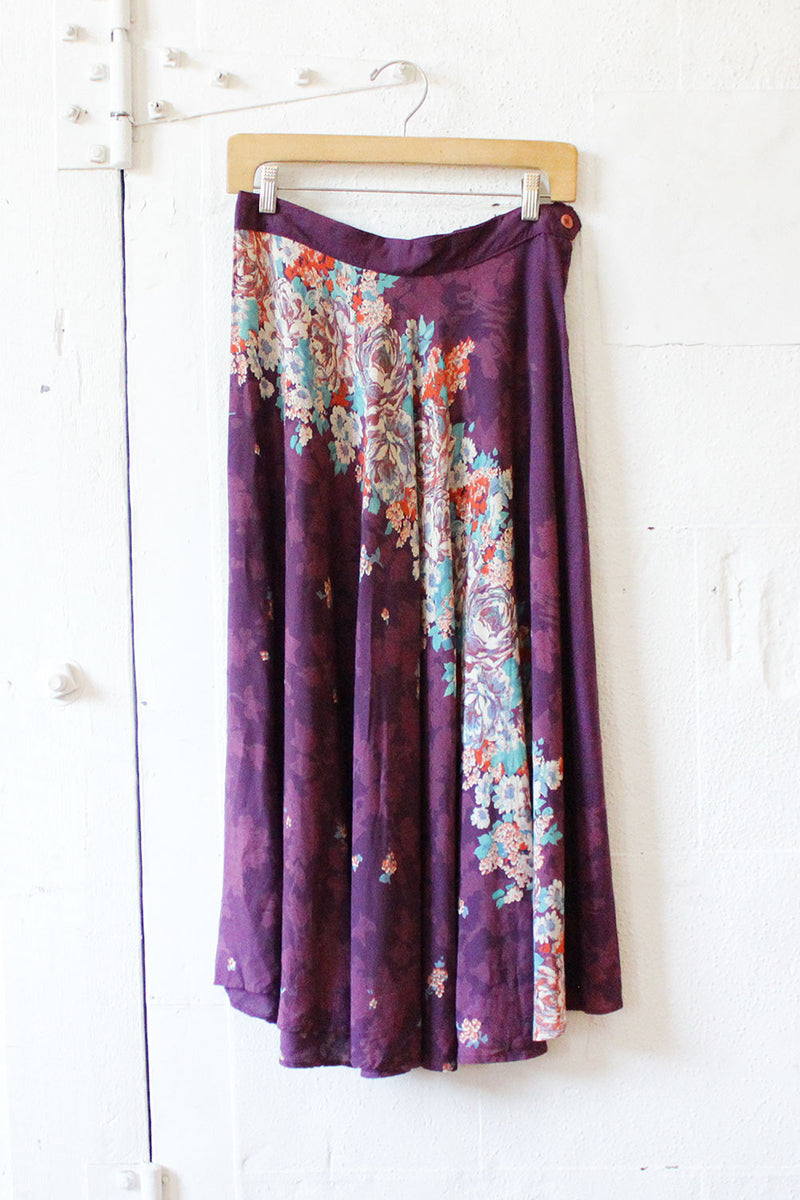 70s Waterfall Floral Skirt M