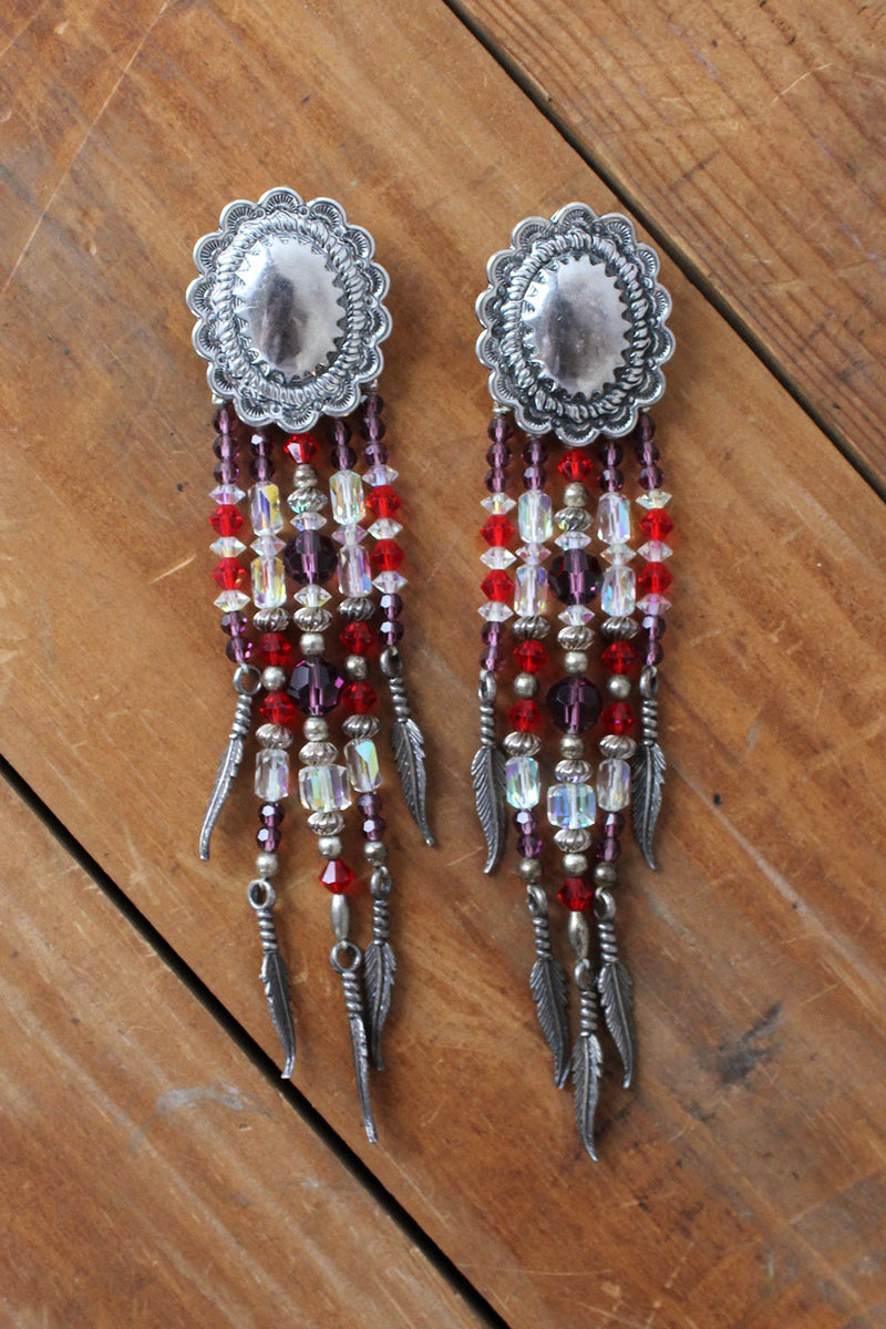 Concho Beaded Feather Statement Earrings