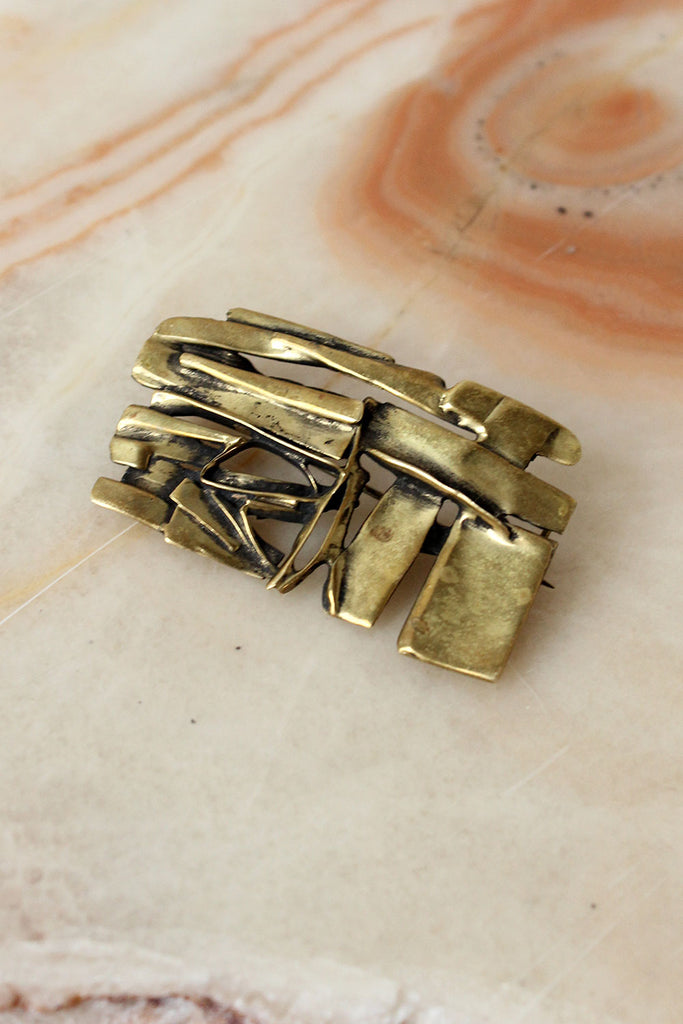 Modernist Abstract Brass Pin