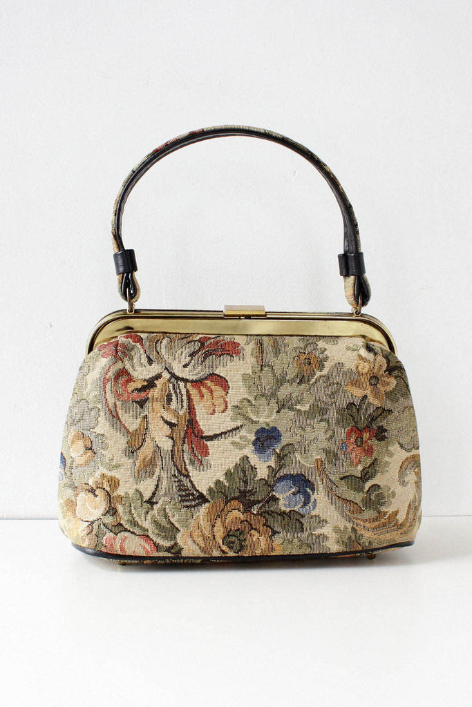 Antiqued Floral Handbag