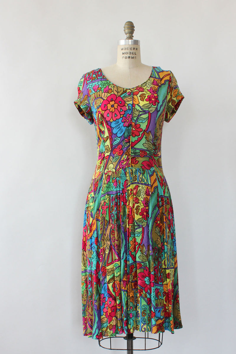 Colorful Gauze Patterned Dress S