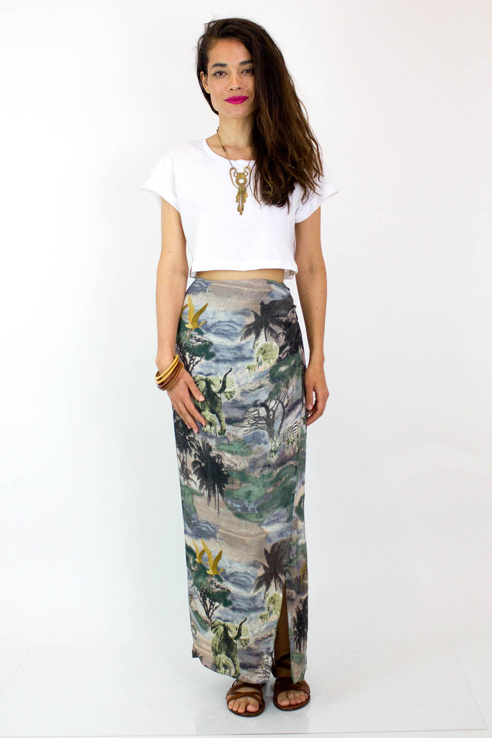 Stormy Jungle Maxi Skirt S/M
