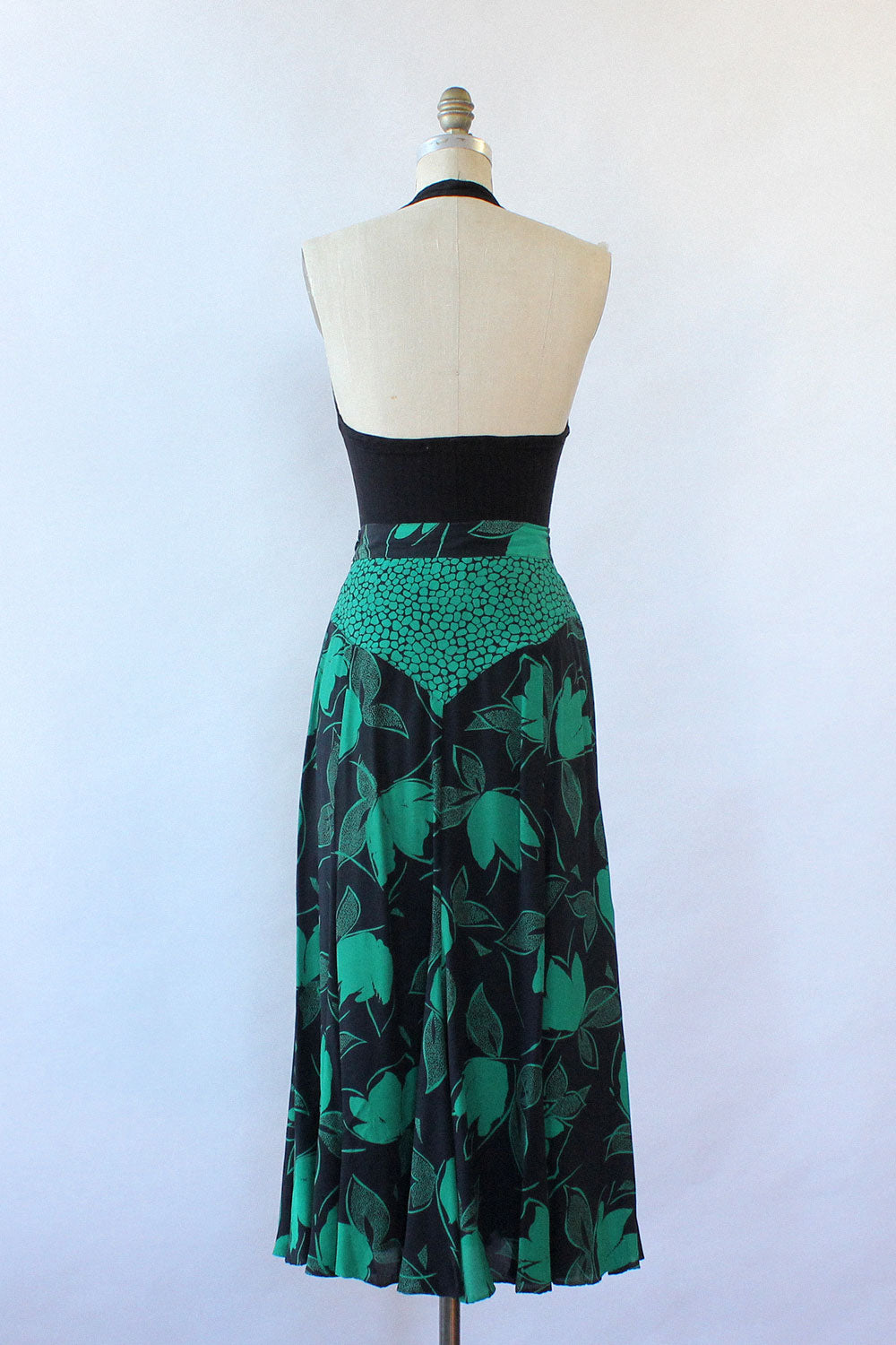 Green Shadow Print Skirt M