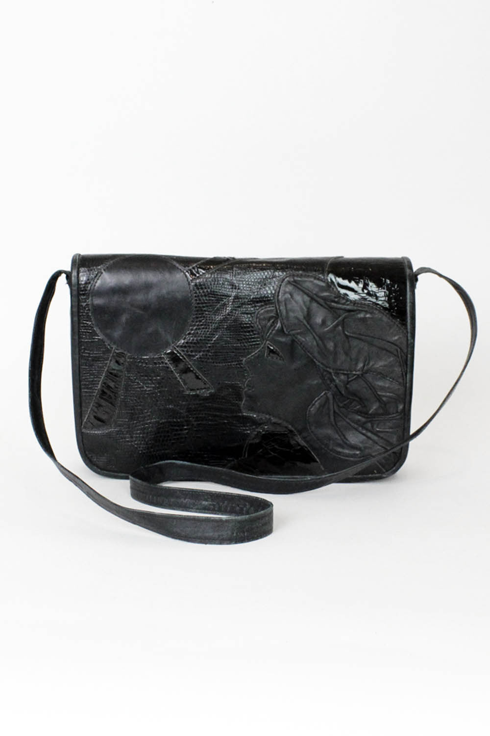 Face Applique Leather Bag