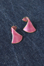 Wavy Rose Enamel Earrings