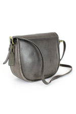 70s Coach Charcoal Leather Crossbody Satchel Bag