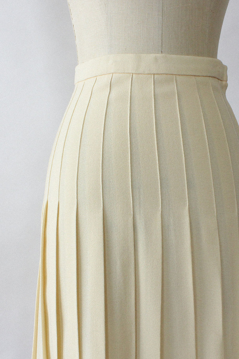 Cream Box Pleat Skirt S/M