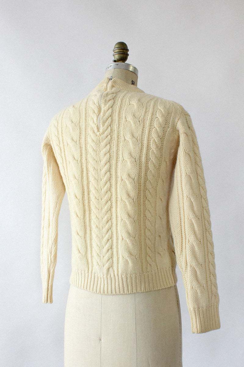 Ivory Cable Knit Sweater S/M