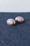 Opalescent Silver Screw-Back Earrings