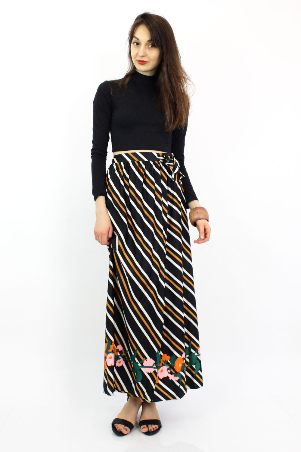 ~ marked down ~ B. Altman Stripe Floral Maxi Skirt