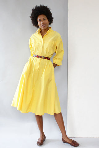Lemon Cotton Shirtdress