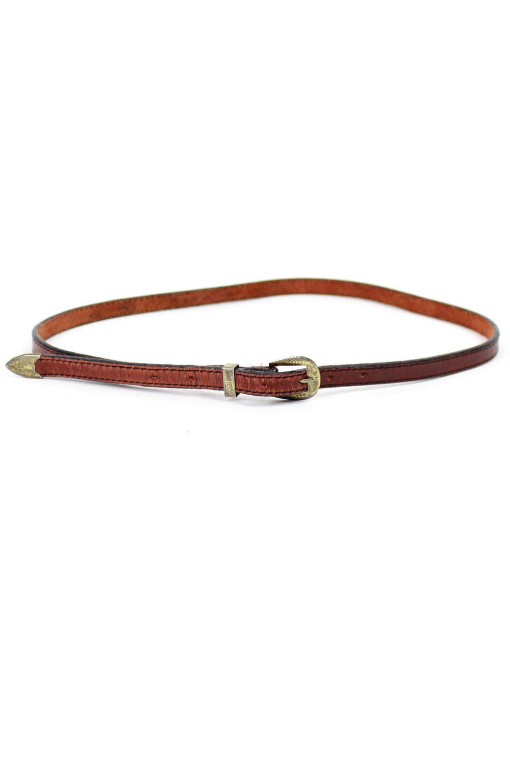 Rust Leather Skinny Belt S/M