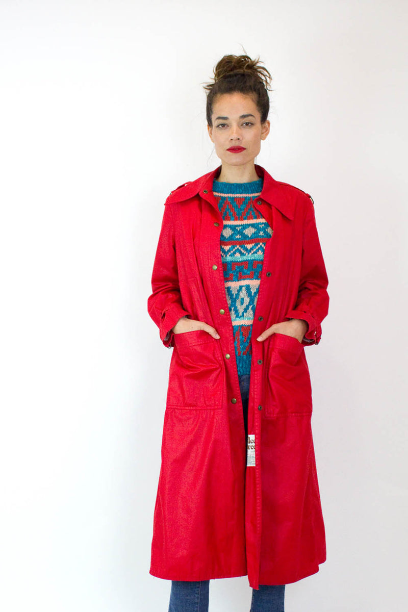 80s Fleet Street Red Trench Coat M