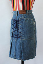 Byblos Lace-up Denim Skirt S