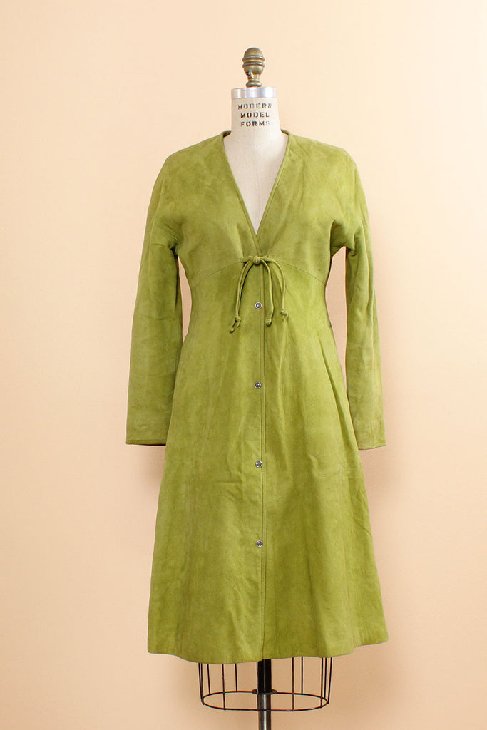 Bonnie Cashin Avocado Green Suede Coat Dress S/M