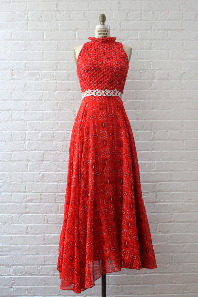Scarlet Bandana Print Maxi Dress S
