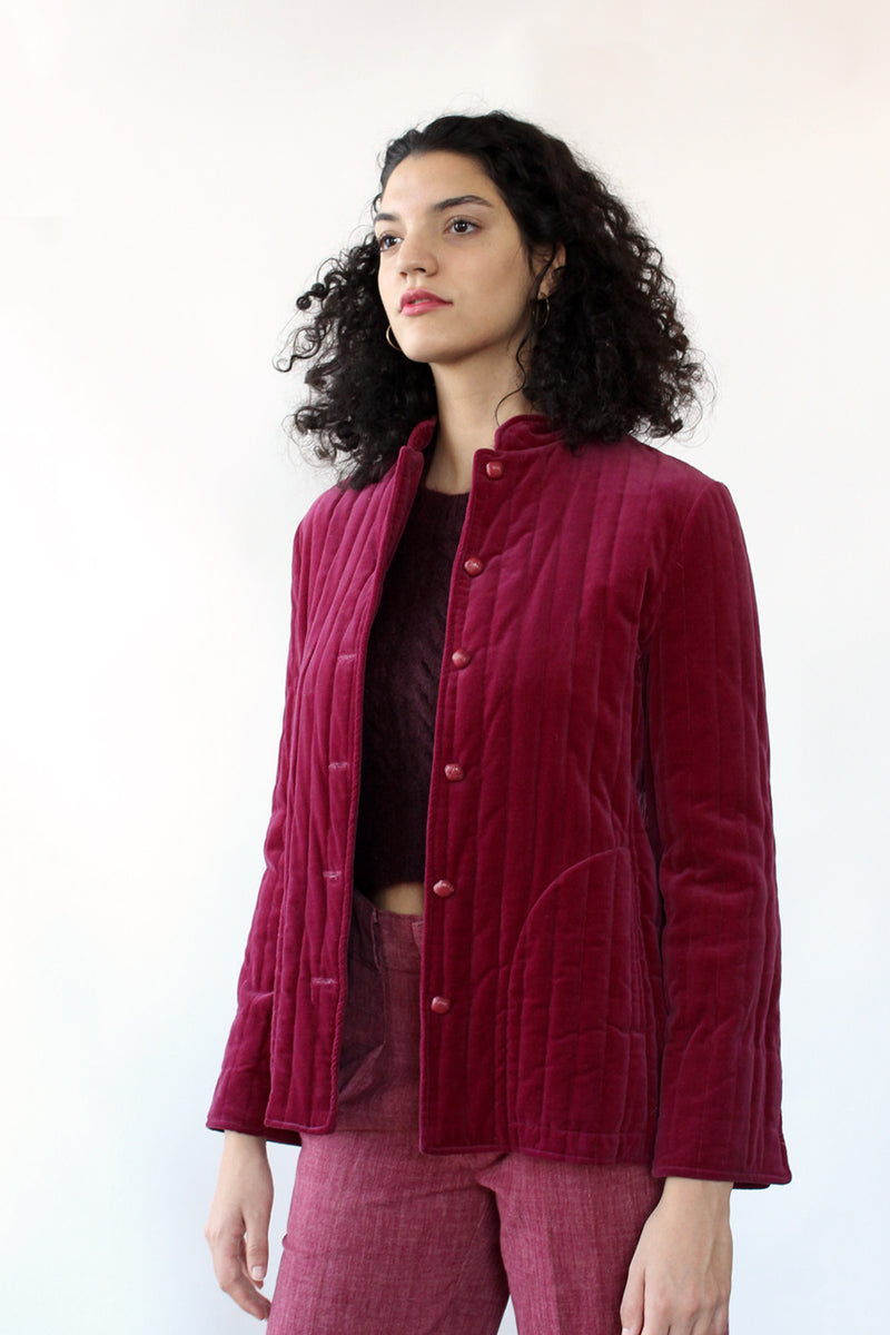 Raspberry Quilted Velveteen Jacket S/M