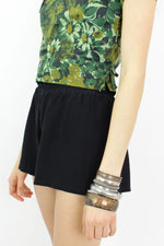 1960s Green Floral Shell Top XS
