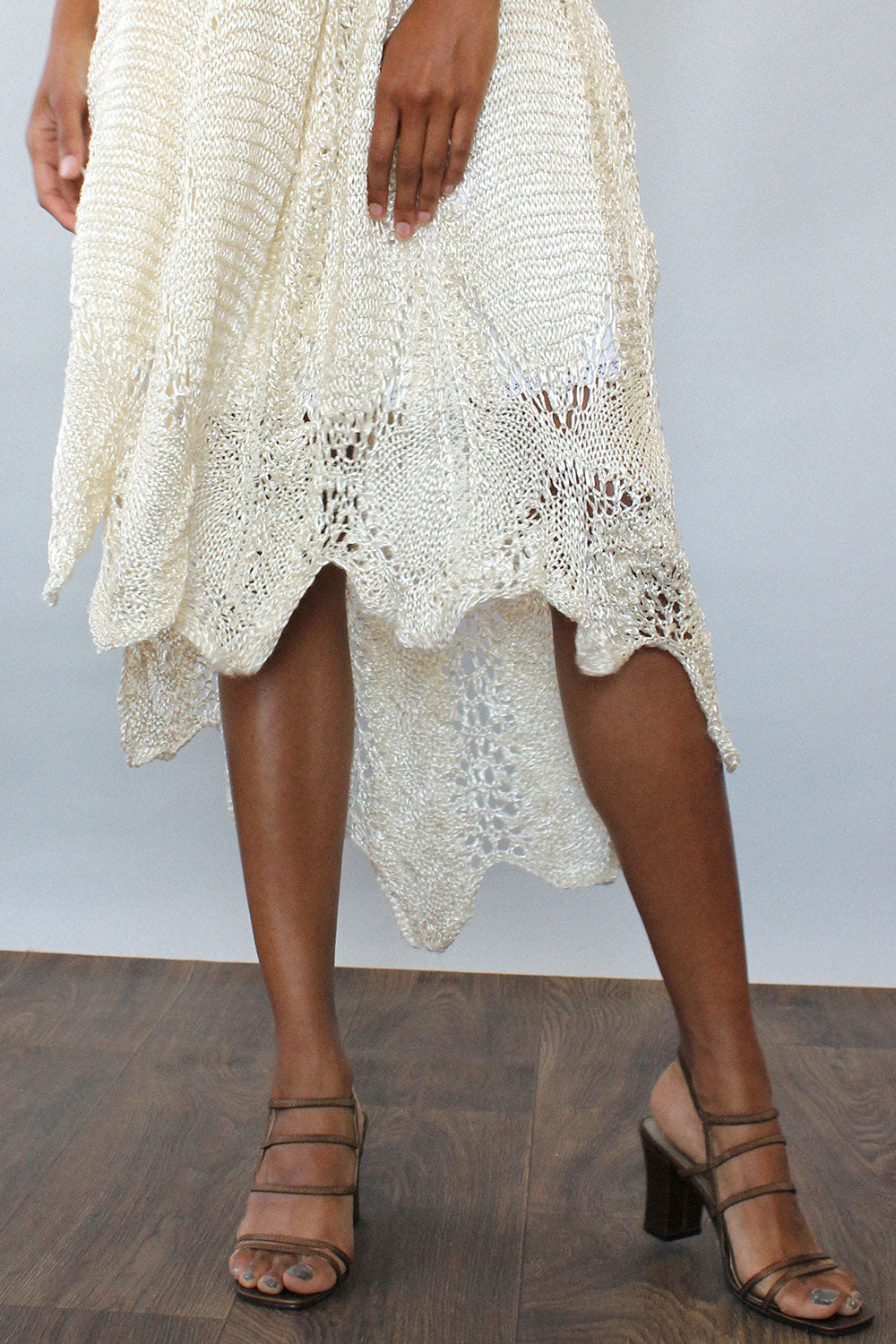 Ivory Crochet Scoop Back Dress XS/S