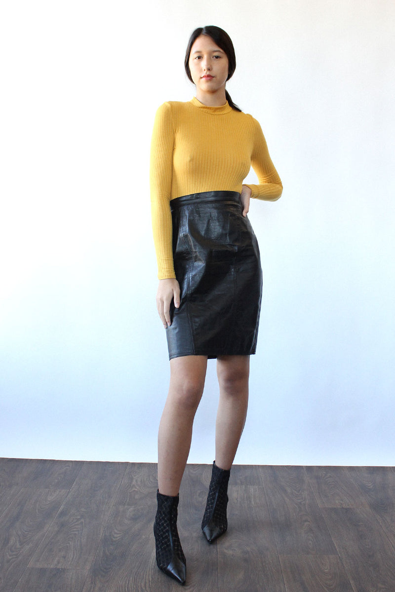 Jet Leather Skirt S
