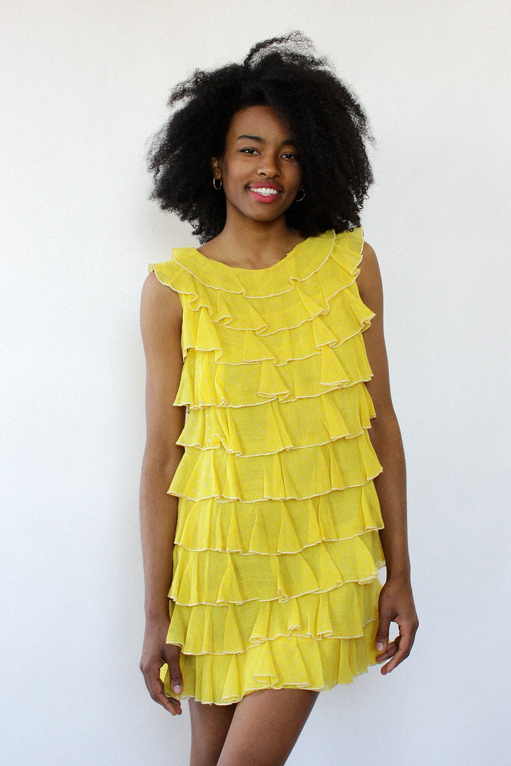 Lemon Ruffle Tiered Dress XS/S