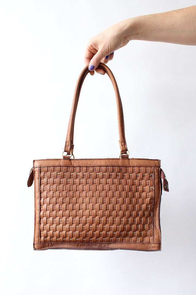 Pecan Woven Leather Purse