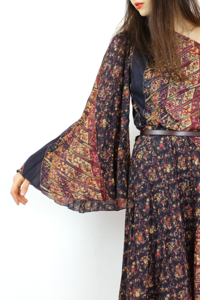 Bell Sleeve Floral Accordion Dress