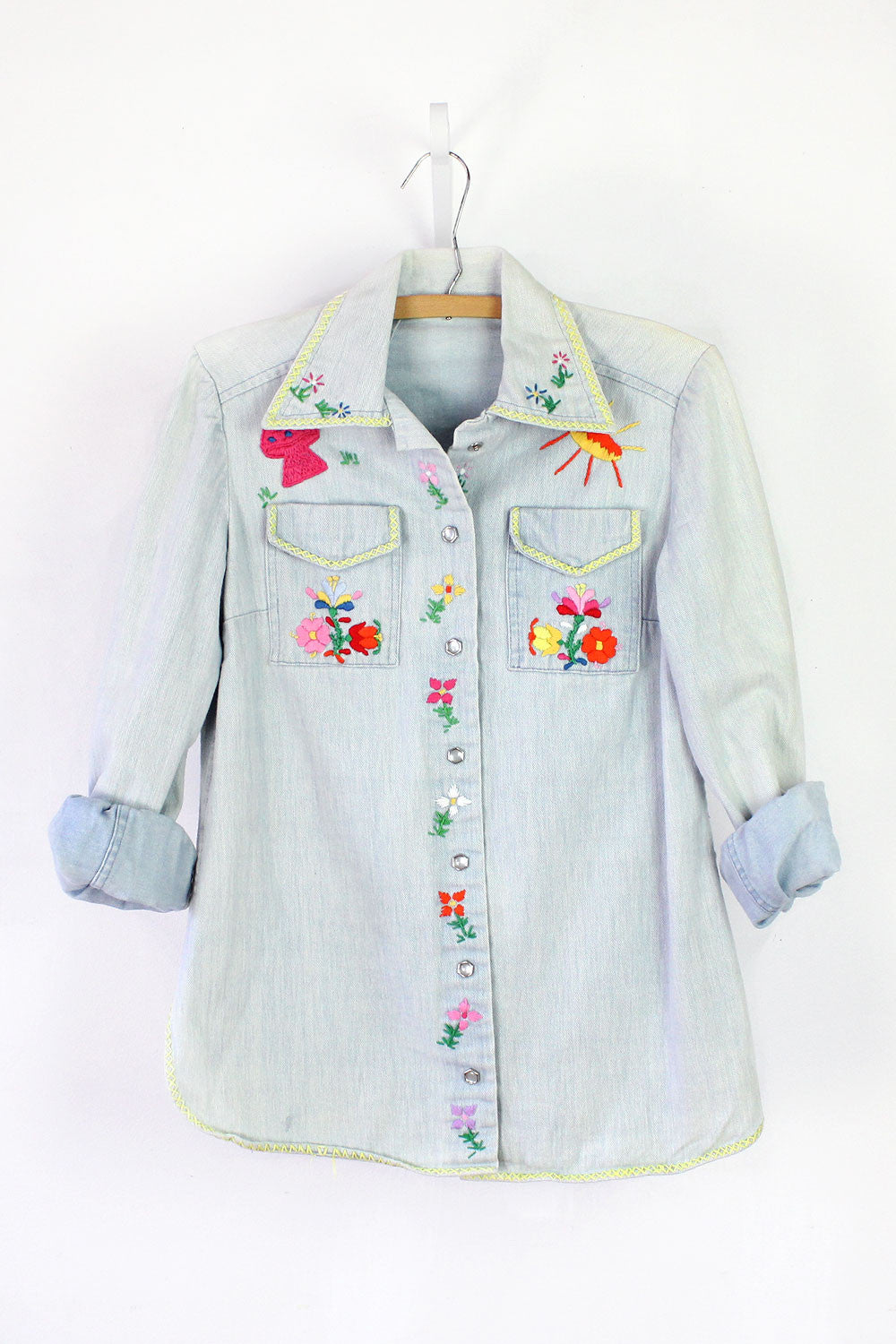 Embroidered Denim Shirt M