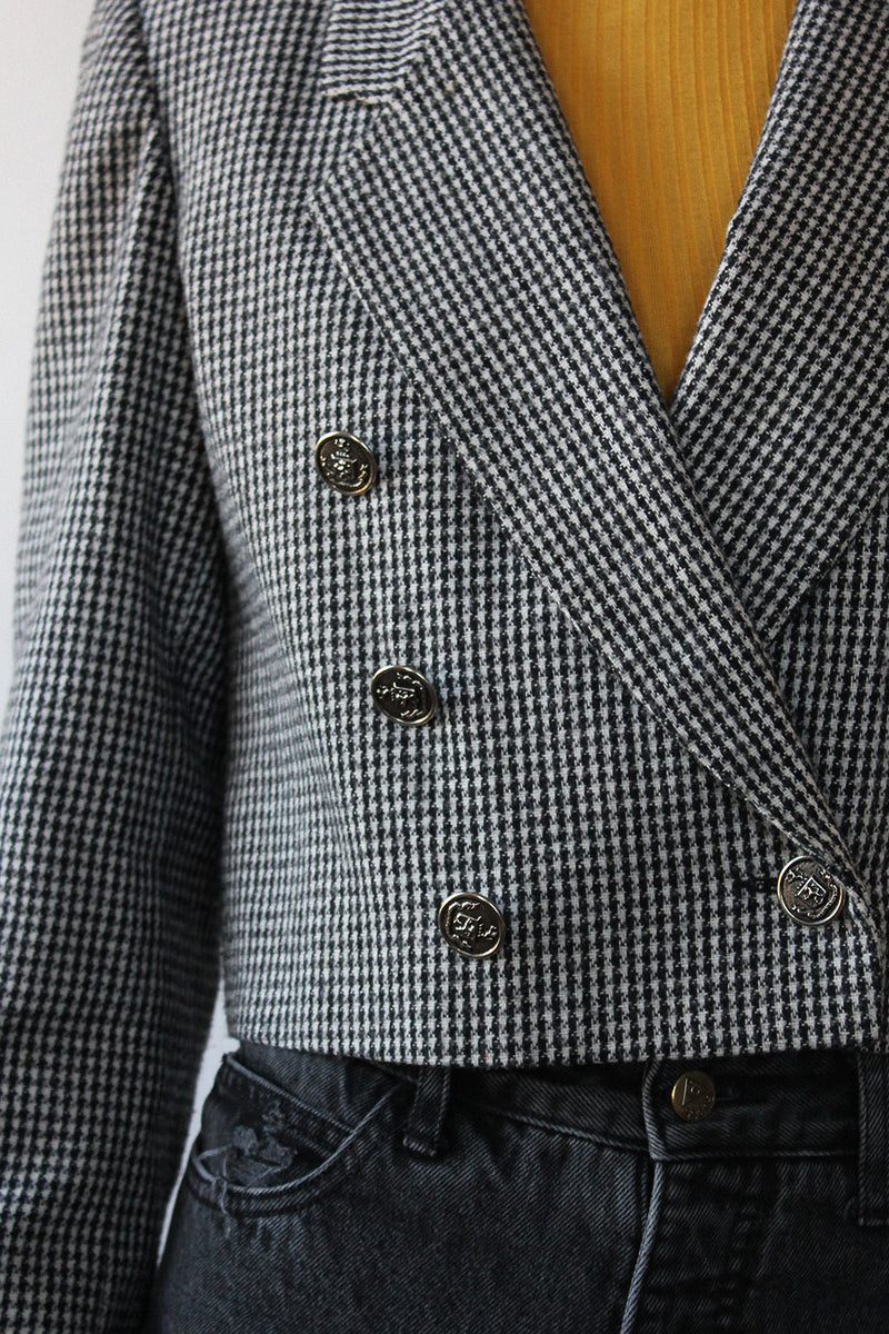 Cropped Houndstooth Jacket M