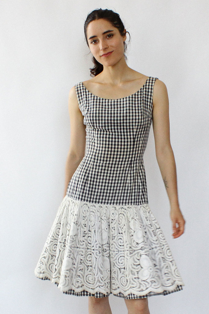 Gingham and Lace Day Dress XS/S