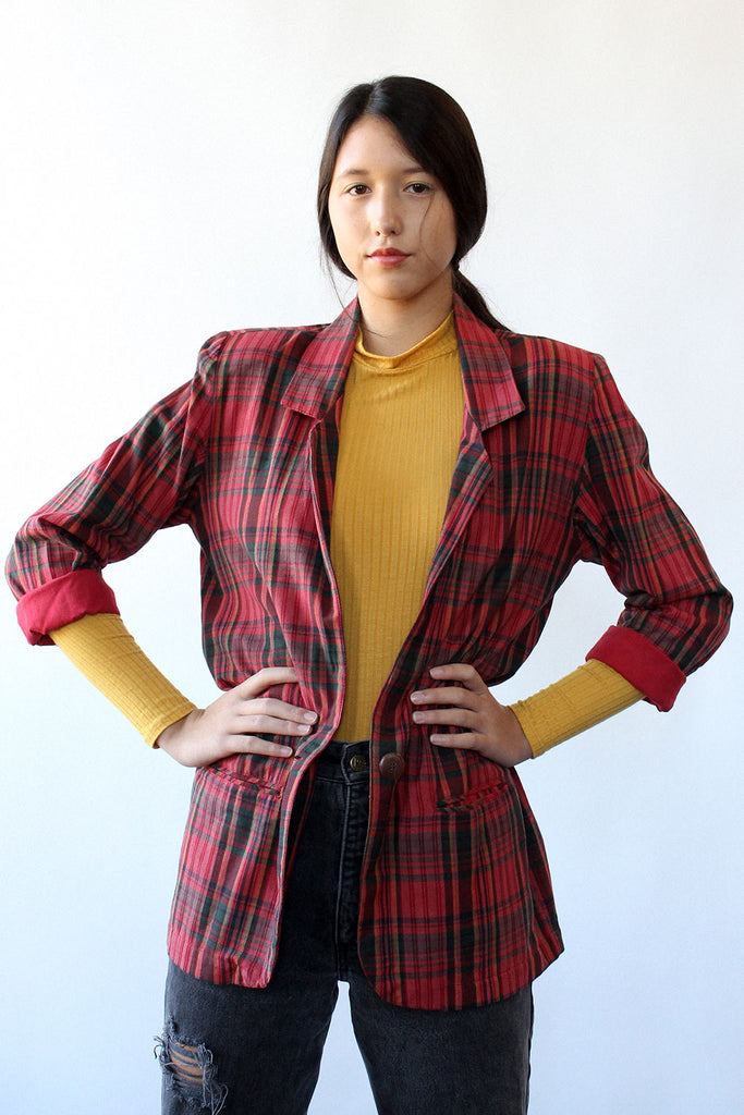 Cranberry Plaid Long Blazer S