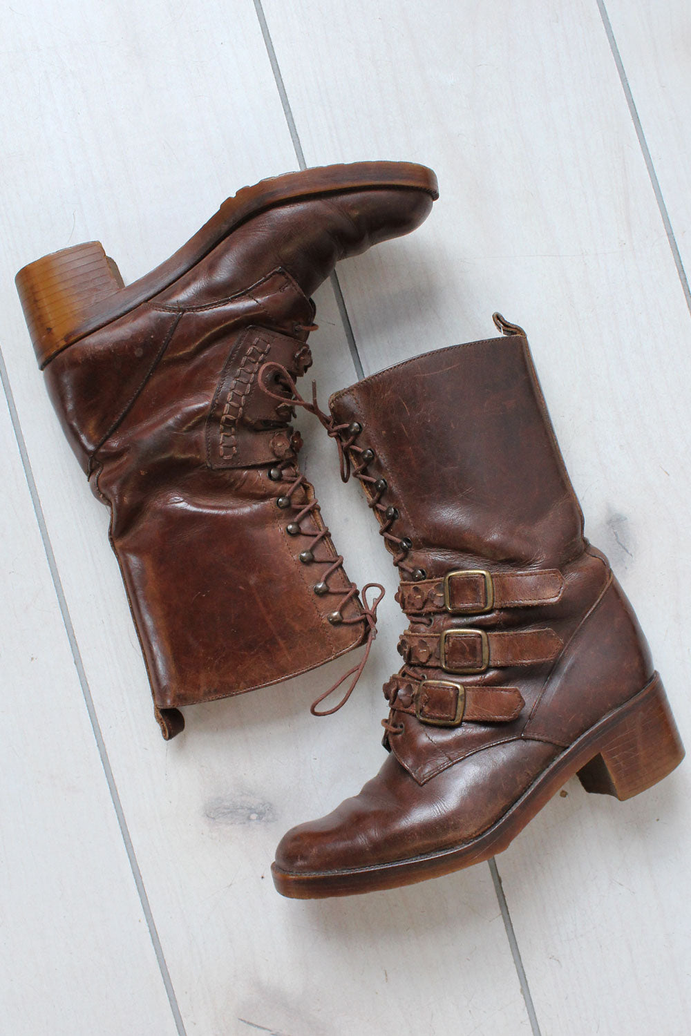 Buckled Lace-up Heeled Boots 6