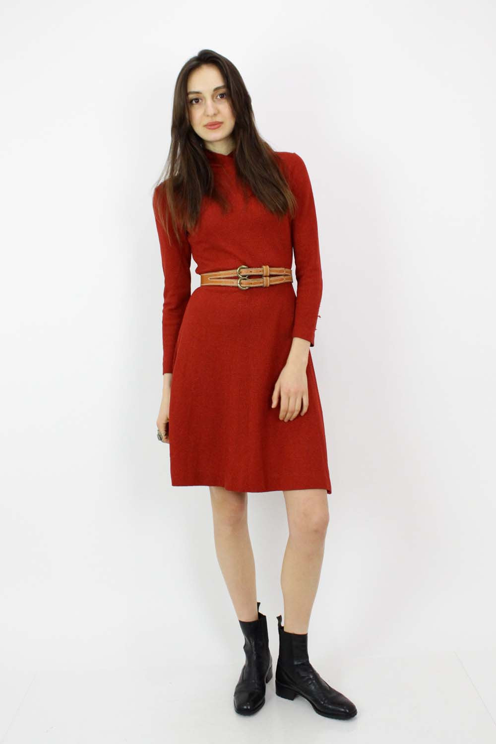 bright rust red dress