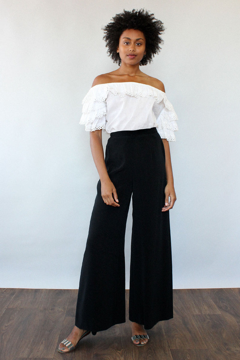 Tiered Eyelet Off-Shoulder Blouse XS-M