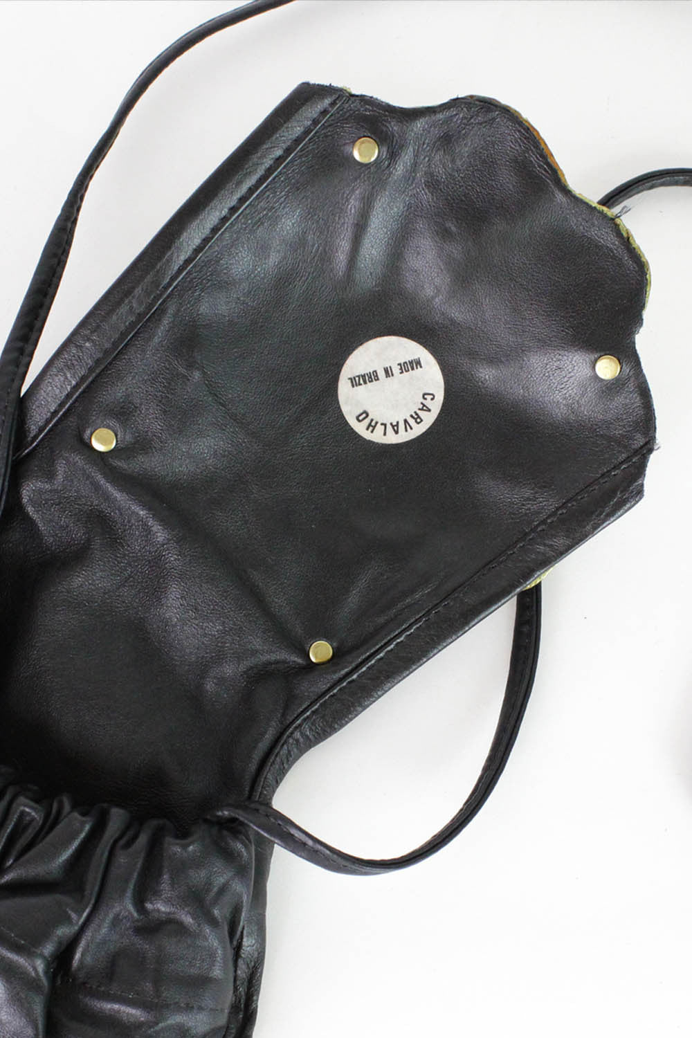 Brutalist Brass & Crystal on Leather Crossbody Bag