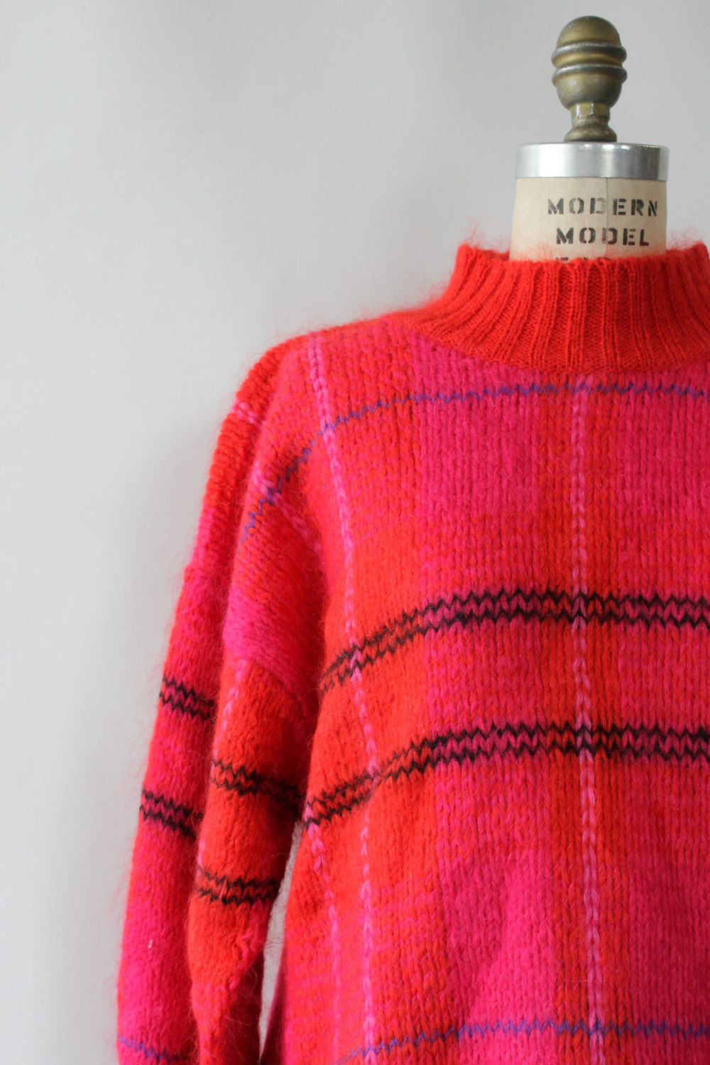 Cherry Plaid Oversized Sweater S-XL