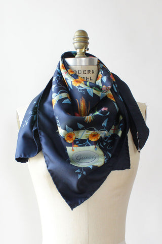 Gucci Navy Bamboo Floral Scarf