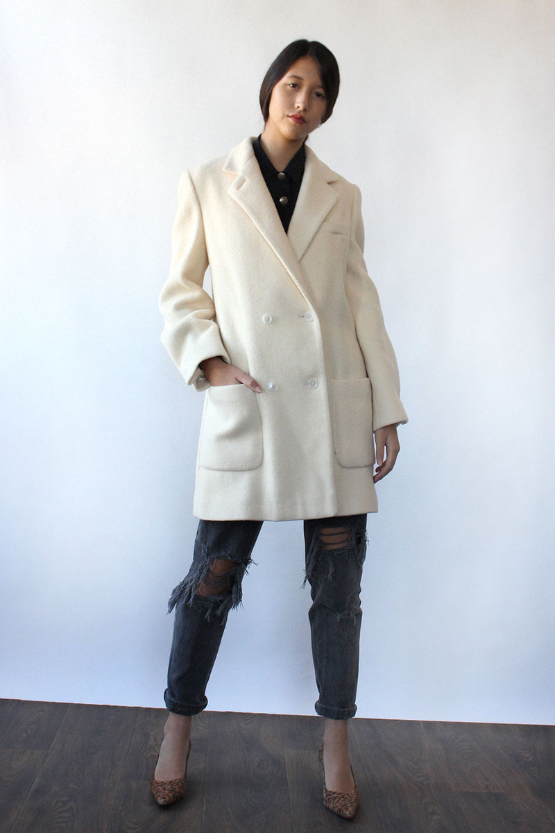 Boxy Ivory Wool Coat S/M