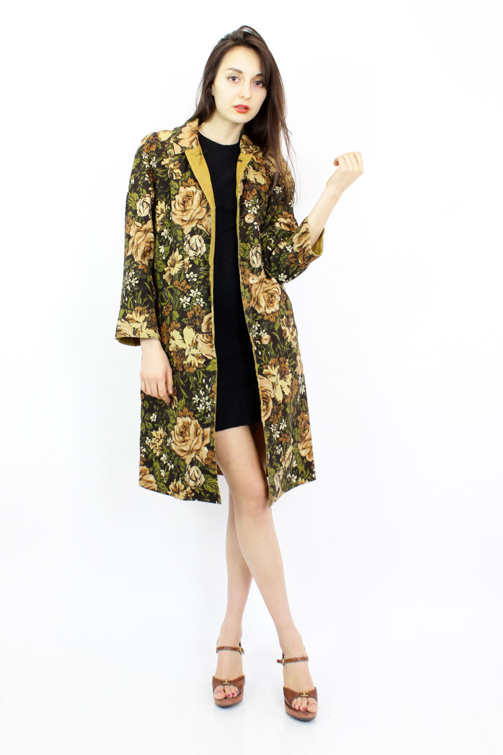 60s Ochre Floral Coat M